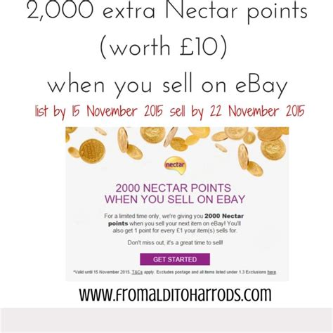 ebay nectar 2 000 extra nectar points when you sell on ebay before 22