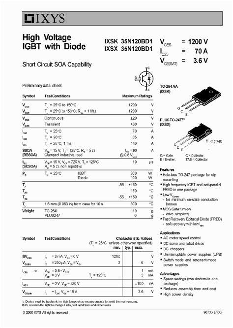 high voltage rectifier diode datasheet ixsk35n120bd1 327129 pdf datasheet ic on line