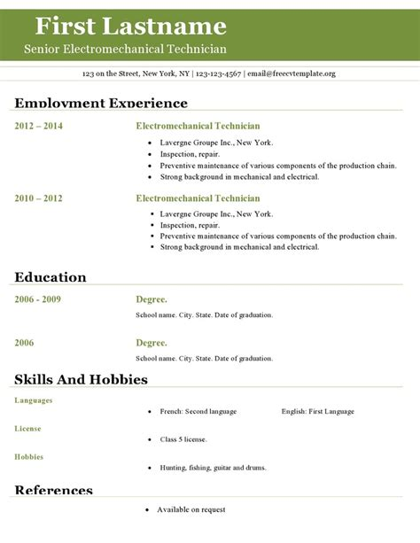 Free Resume Templates Open Office by Open Office Resume Template Fotolip Rich Image And