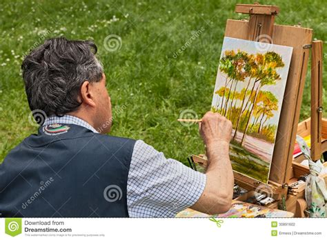 fosso ghiaia ravenna painter at work editorial photography image of paintbrush