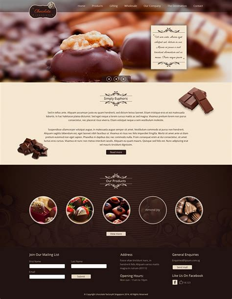 draggable card website template chocolate website template on behance
