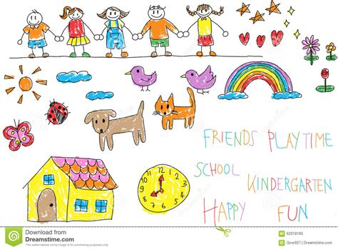 Kindergarten Children Doodle Pencil And Crayon Color Drawing Of Stock Vector Illustration Of Drawing Pictures For Kindergarten