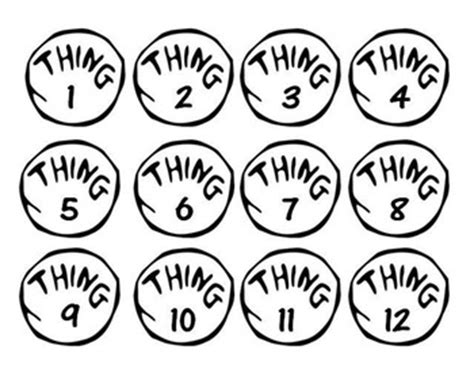 Cat In The Hat Thing 1 36 Labels By Brittany Archibald Tpt Thing 1 Editable Template