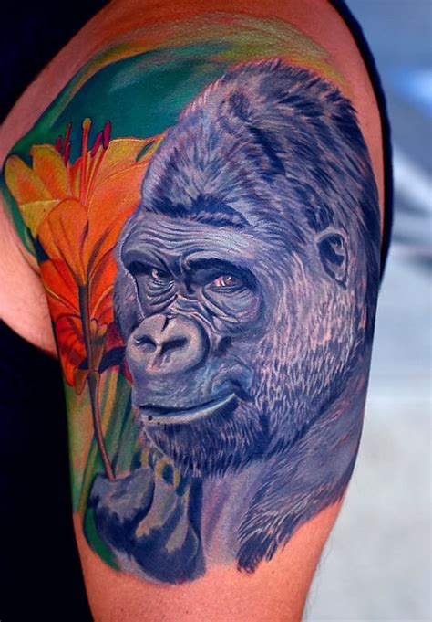 blue gorilla tattoo colorful gorilla on