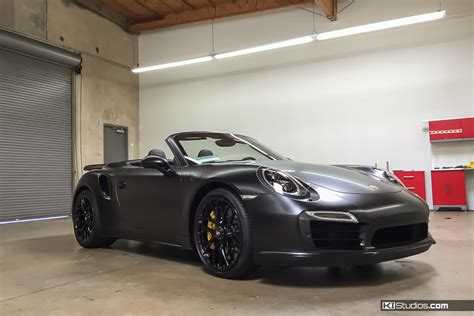 black porsche 911 turbo porsche car wraps for color and protection ki studios