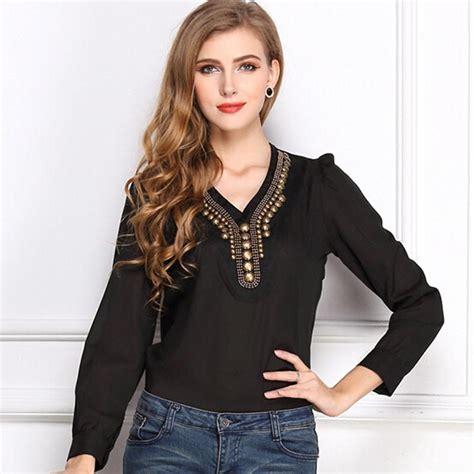 V Neck Blouse 24179 fall womens chiffon blouse blusas femininas v neck blouses sleeve chiffon