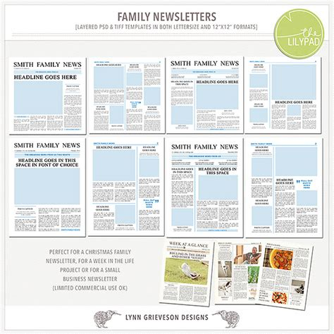 family newsletter templates by the lilypad designer lynn