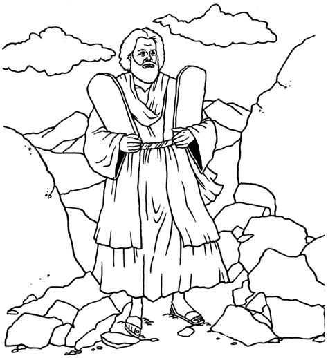 Coloring Pages 10 Commandments Ten Commandments Coloring Page