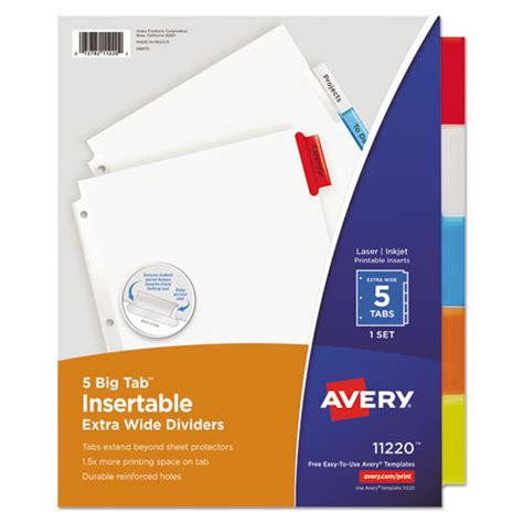 staples 5 large tab insertable dividers template insertable big tab dividers 5 tab 11 1 8 x 9 1 4 tcr