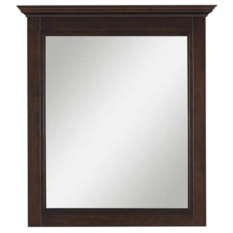 Allen Roth Bathroom Mirrors Shop Allen Roth Eastcott 27 In X 30 In Auburn Rectangular Framed Bathroom Mirror At Lowes