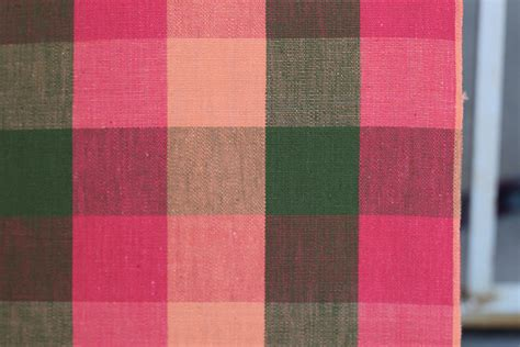 buffalo check upholstery fabric vintage fabric buffalo check plaid pink apricot and olive