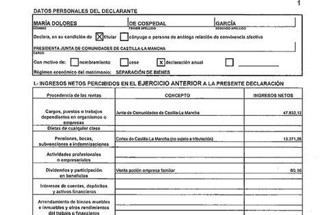 declaracion juramentada salud total caso b 225 rcenas cospedal ingres 243 61 263 euros netos en 2012