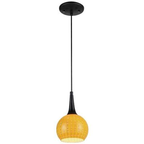 Westinghouse 1 Light Black Adjustable Mini Pendant With Yellow Pendant Light Shade
