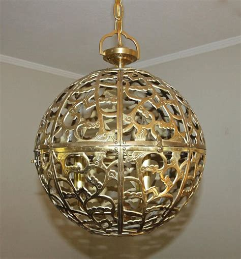 Asian Pendant Lights Large Pierced Filigree Brass Japanese Asian Ceiling Pendant Light At 1stdibs