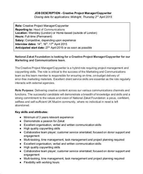 sle copywriter job description 11 exles in pdf word