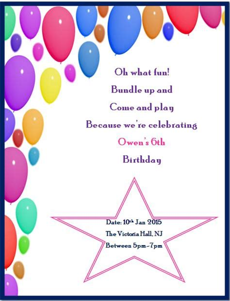6th birthday card template 6th birthday invitation templates page 2 of 2 demplates