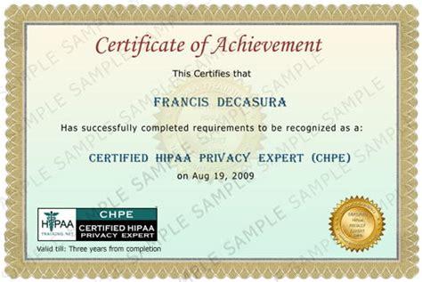 hipaa certificate template chpe 3 hipaatraining net