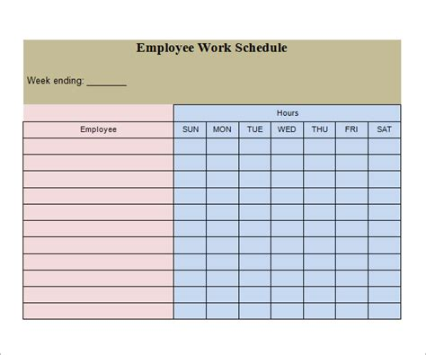work schedule calendar template best photos of weekly work schedule template sle free