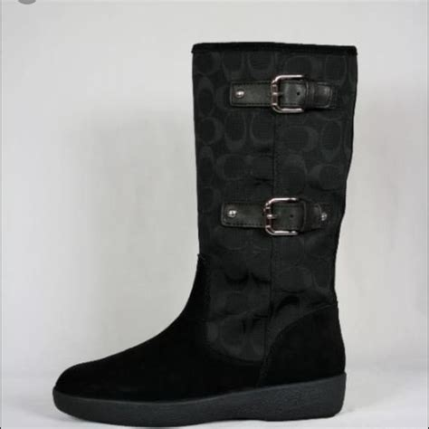 couch boots 40 off coach shoes black coach signature tinah boots