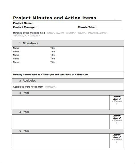 meeting minutes action items template gse bookbinder co