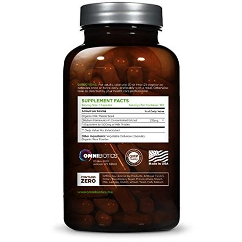 The Strongest Detox by Usda Certified Organic Milk Thistle Capsules 1500mg 4x