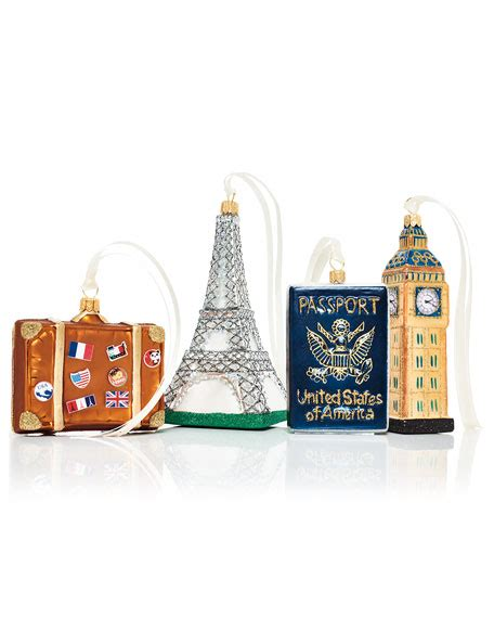 travel christmas ornaments 4 piece set
