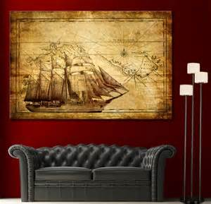 Home Decor Canvas Prints by Canvas Home Wall Art Print Sail Ship Map Decor Vintage