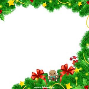 christmas frame with leaves vector free download