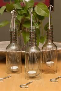 Flameless Tea Lights Upcycled Wine Bottle Luminary Hanging