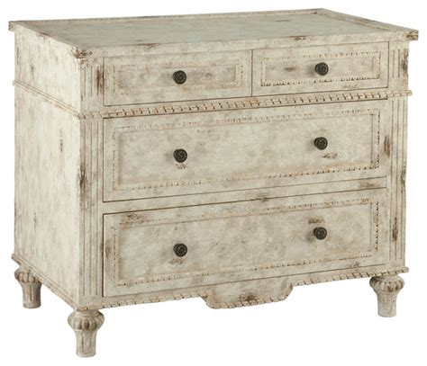 arlon antique white heavy distressed white chest of