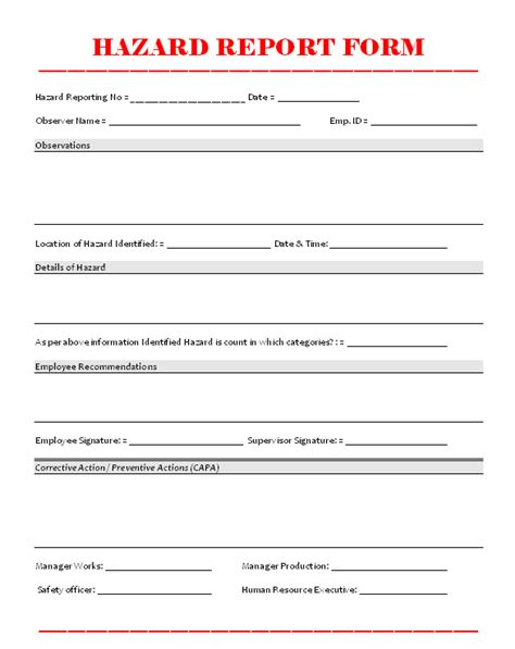 hazard report template hazard report form format sles word document