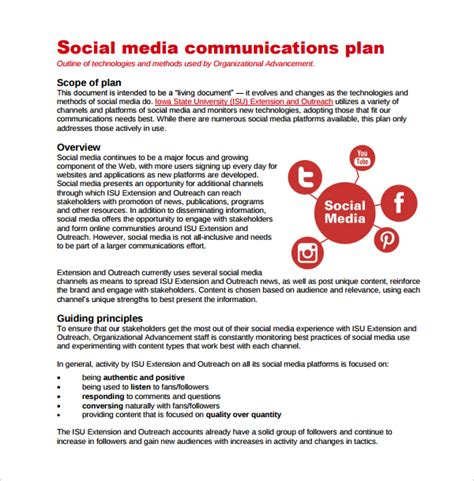 sle social media marketing plan template social media plan sle media plan template 6 documents in pdf