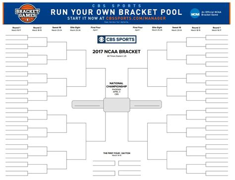 ncaa bracket template printable ncaa tournament brackets for 2017 march madness