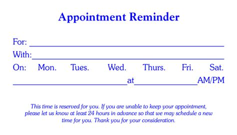 appointment card template free business stationary templates cards letterheads