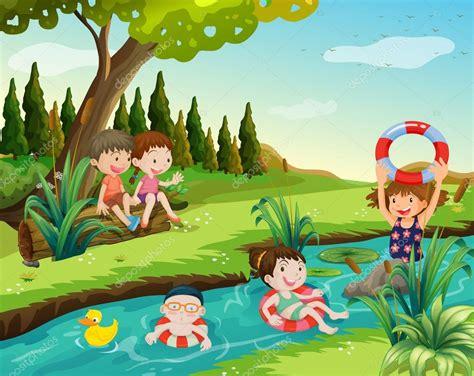 imagenes niños nadando ni 241 os nadando en el r 237 o vector de stock 169 interactimages