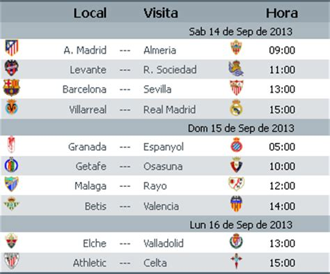 Calendario Liga Bbva Calendario Liga Bbva Jornada 4 Apuntes De Futbol