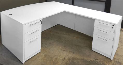 White Desk L Shaped White U Shaped Workstation W Hutch