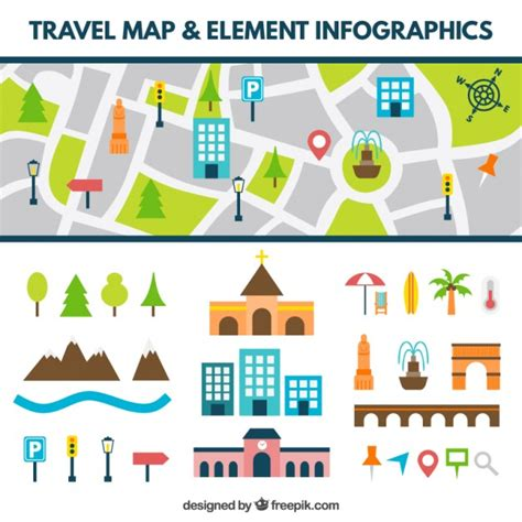 map design elements vector road map with flat elements vector free download