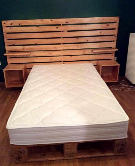 headboard with pallets diy pallet bed with shelved headboard 101 pallets