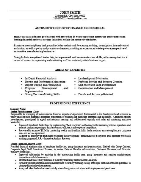 automotive finance professional resume template premium resume sles exle