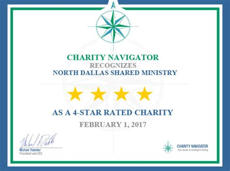 charity navigator letter for the news media dallas shared ministries