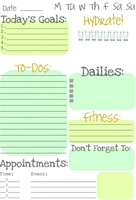 printable daily planning pages my daily schedule printable calendar template 2016