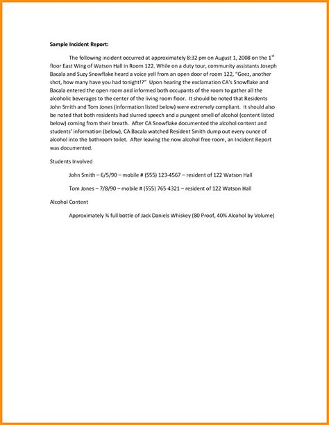 incident report letter template school incident report template high quality templates