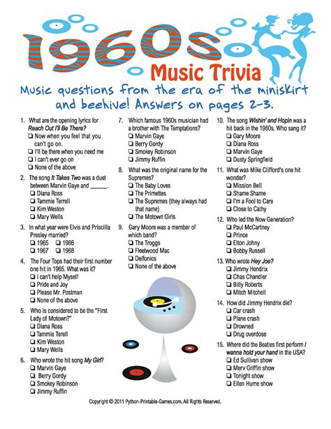 printable word trivia games 1960s music trivia game 50 s 60 s rock n roll party