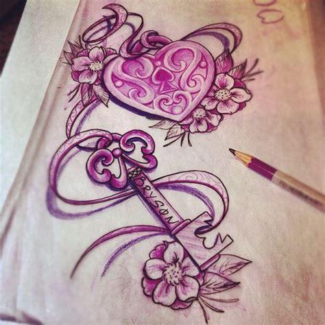 filigree heart tattoo designs lock key with ribbon drawing ribbons