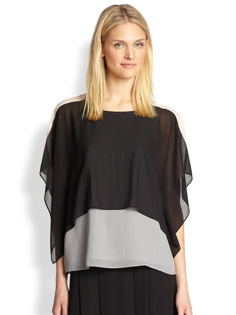 C Top Black lyst eileen fisher sheer silk georgette top in black