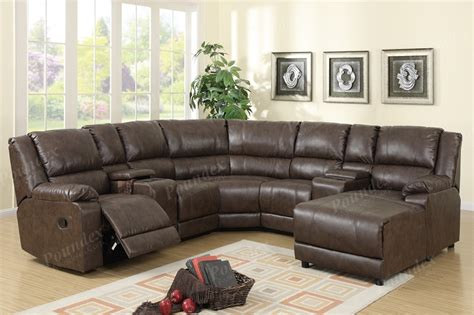sectional sofa with recliner and chaise poundex sectional sofa set w 1 recliner console and