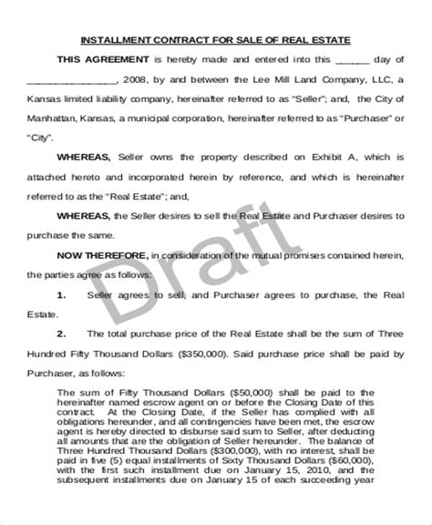 installment sale agreement template sle installment sales contract 12 exles in word pdf