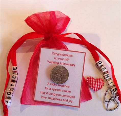 40th Wedding Anniversary Song List by Personalised Ruby Wedding 40th Anniversary Sixpence Gift
