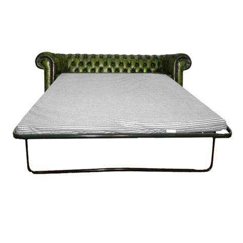Chesterfield Sofa Bed Uk Chesterfield Antique Green Genuine Leather Three Seater Sofa Bed
